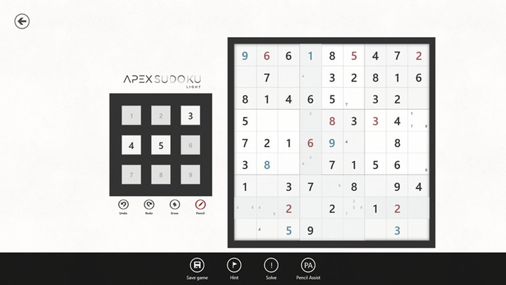 A game of sudoku with all the assistances turned on