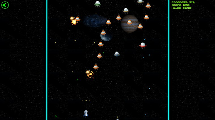 Challenge to destroy 100 alien ships. They can come in waves!
