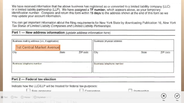Text Input feature allows you to easily fill out forms.