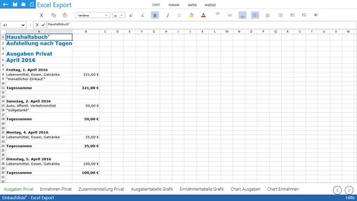 Excel Export mit Kalkulationsblatt