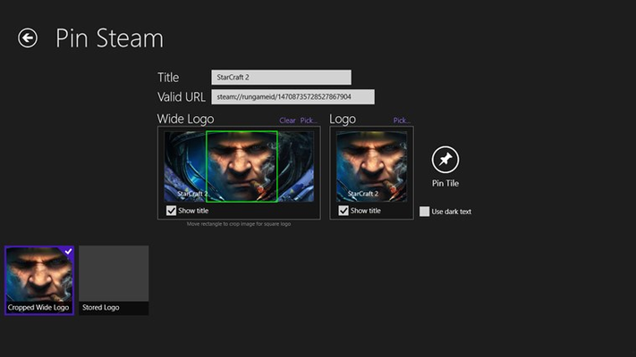 Pin Steam for Windows 8