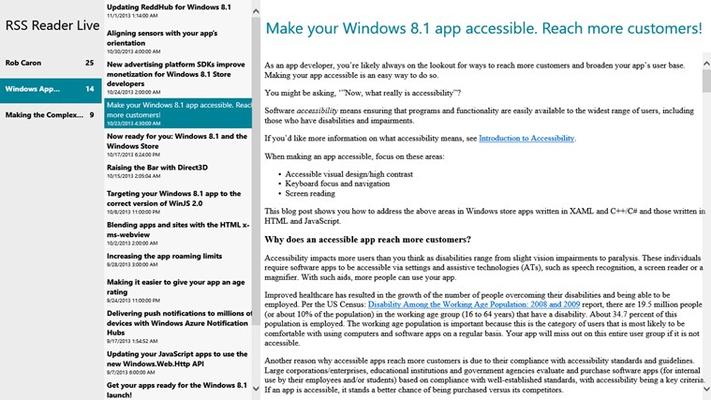 RSS Reader Live for Windows 8