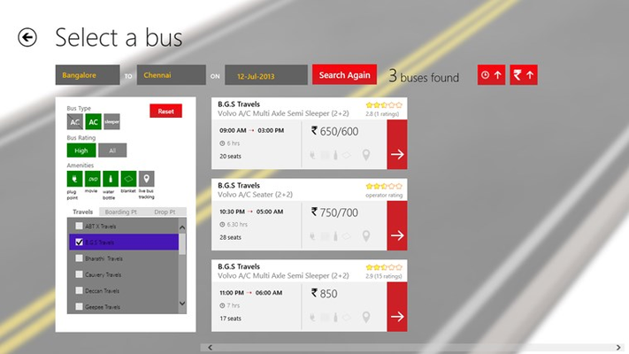 Filtered Bus List