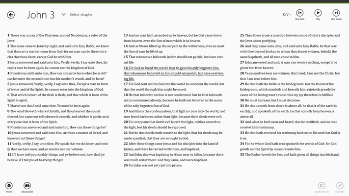 Easily select from hundreds of Bible versions in many languages, with more added all the time.