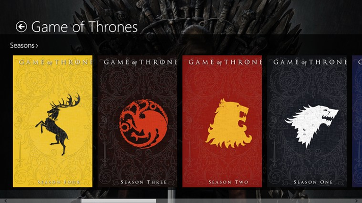 Select a season and scroll right to view the episodes of the selected season