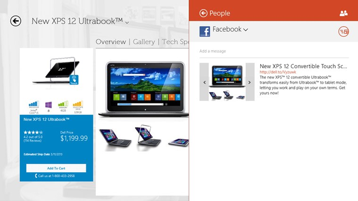 Swipe from the right or move your cursor to the top right corner to share products using the share charm.