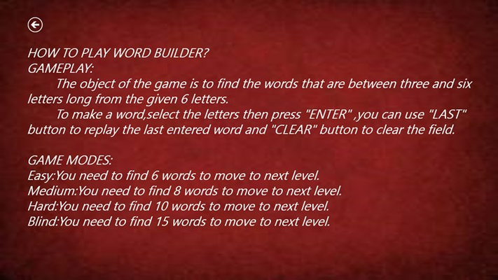 Instructions to play the game