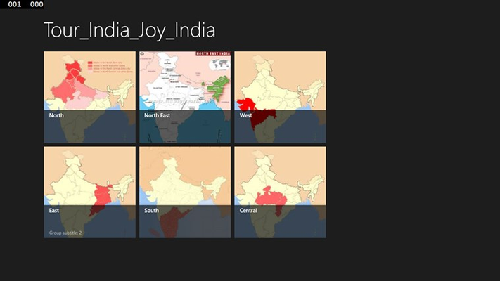 Main screen of the Tour India Joy India