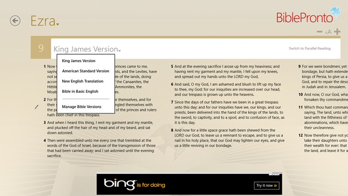 Bible Reading Page with quick Bible Version change option