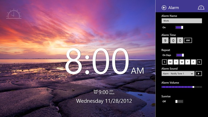 Set a one-time or recurring alarm and select the sound, volume, and whether the sunrise is displayed.