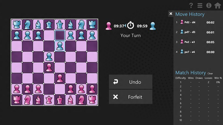 The History pullout lets you track the current game as well as your entire Chess career.