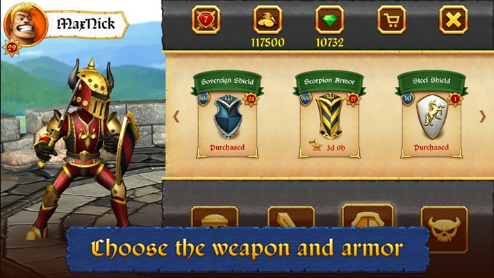 Choose the weapon and armor