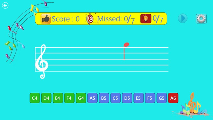The Skill-Test screen - to Increase your sight reading skills.