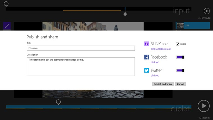 Share your cliplets with just your friends or the whole world, using BLINK.so.cl, Facebook, or Twitter.
