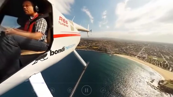 Watch a helicopter pilot by controlling the video camera.
