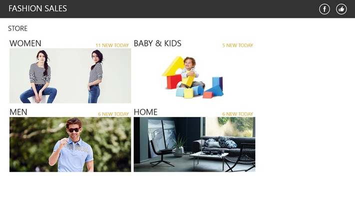 Home page provides quick access to GILT stores: women, men, kids and home
