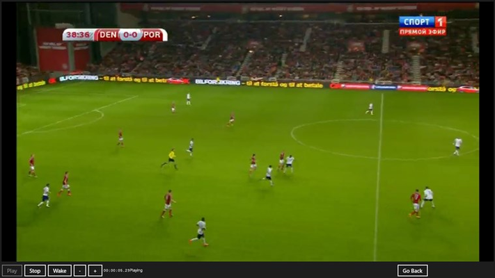 Here is a Sport Channel where a Football game is taking place.