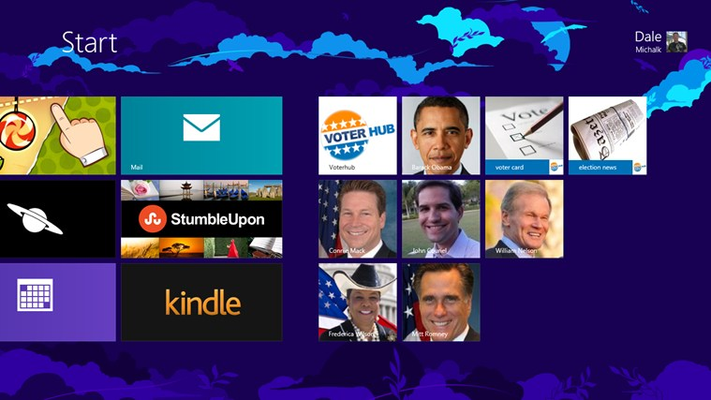 Start screen showing main tile, tiles for candidates, and tiles for news and voter card