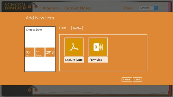 Add multiple files. Notes are all grouped by dates.