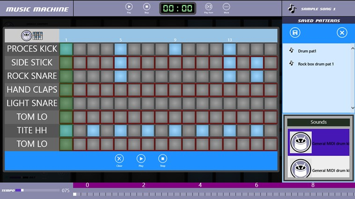 Easily create and save drum sequence patterns.