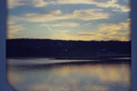Setting sun river view