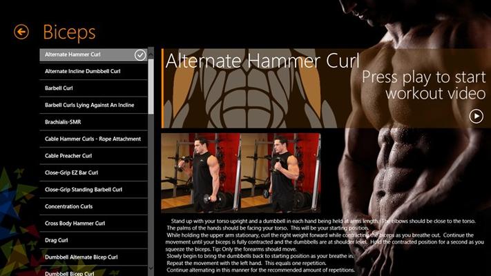 Biceps excercise page