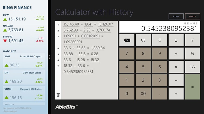 Filled view: use the calculator together with another application.