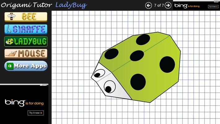 Origami Steps for LadyBug