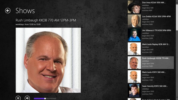 Includes live access to Rush Limbaugh.
