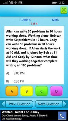 Grade 8 Math Practice Test Screen