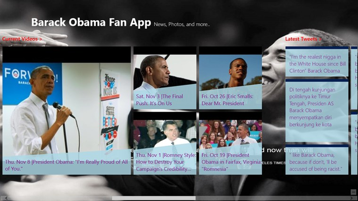 Barak Obama - Fan Club Videos and Tweets Screen