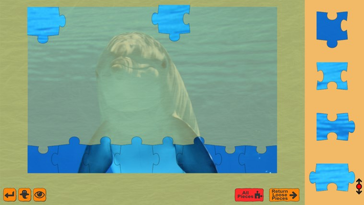 """This puzzle shows the """"ghost helper"""" which places a faded image into the background to aid in piece placement."""