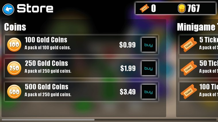 Buy more coins. Or trade your coins for mini game tickets.