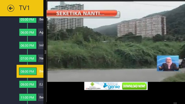 Watching the Live TV while browsing the daily schedule.