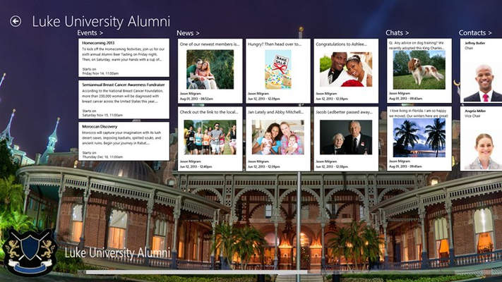 sample - events, news, chats and a member directory are some of the modules available in the app