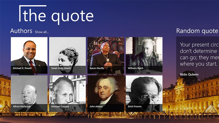 Main screen - random selection of authors and a random quote