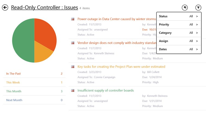 Review and filter project issues.