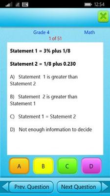 Grade 4 Math Question Screen