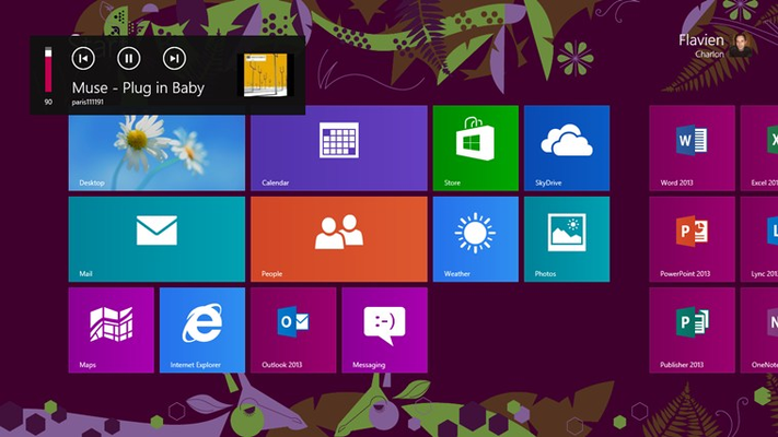 Control playback at any time (play, pause, next track, etc...) from the Windows 8 volume control popup