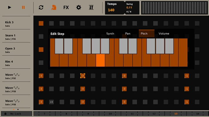 The pitch of each sound is adjustable by two octaves.
