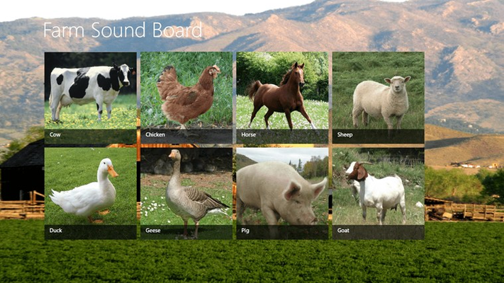 Play the sounds of well known farm animals