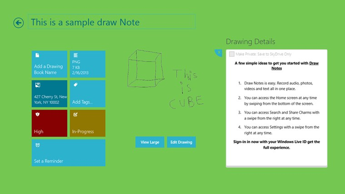 Create sketches. Add notes, to-do, reminder and importance level.