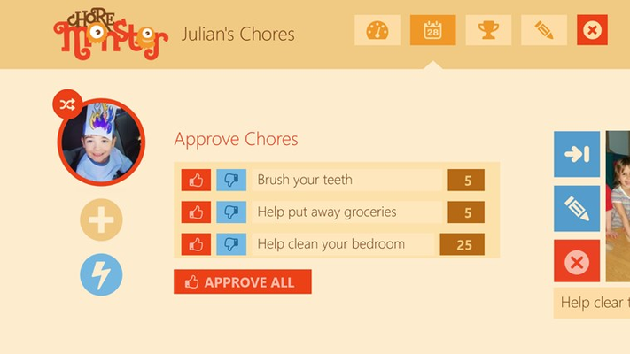 Parent's add and approve completed chores!