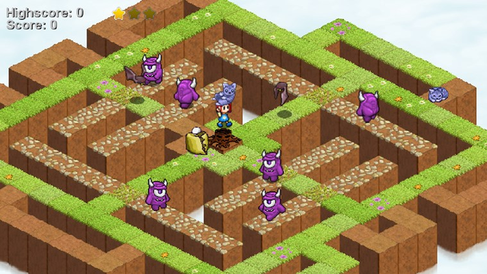 Pick up and move the garden cats to block areas or trigger switches.