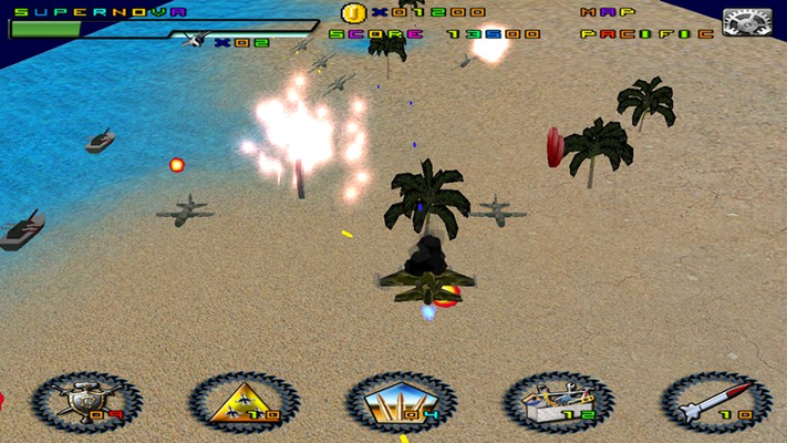 War on pacific ocean with tank, ship and fighter enemy