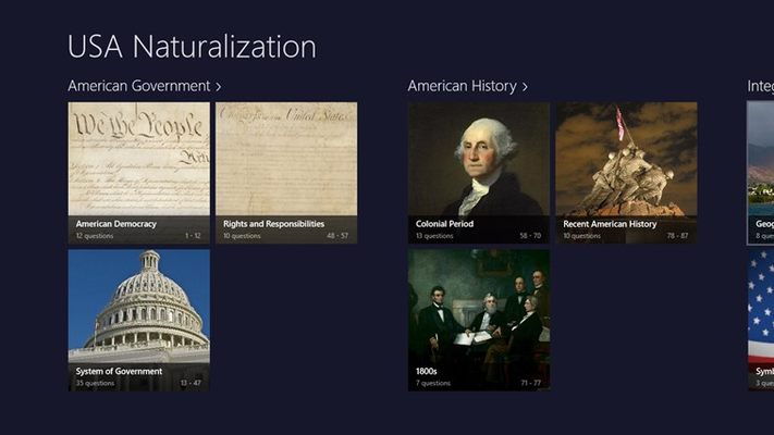 Study for the USA Naturalization Tests in your Windows devices.