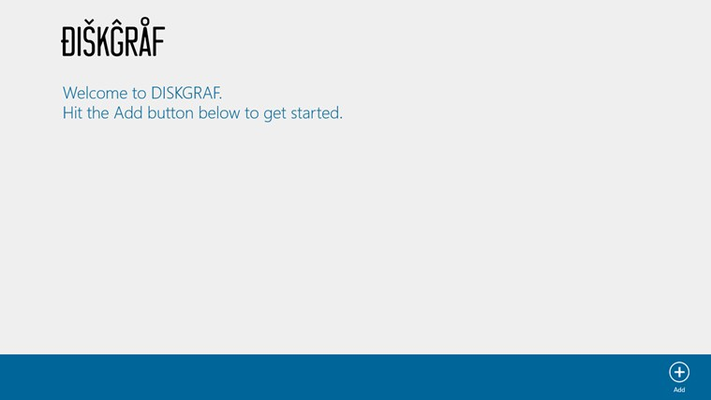 DISKGRAF welcome screen. Starting a new scan is as easy as hitting a button and selecting a folder.