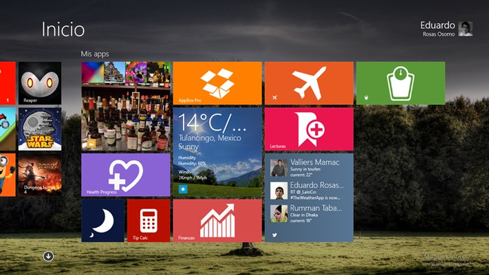 You can see pictures in the live tile.