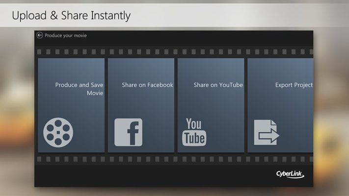 Upload your finished videos instantly in Full HD quality