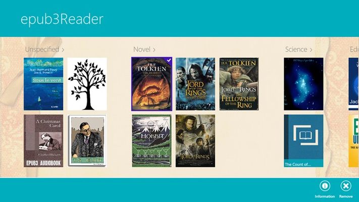 Select a book to get more information about author, publisher, released date... or remove e-Books from library